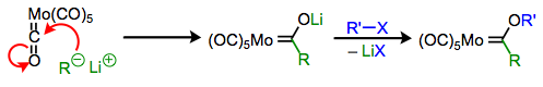 Metal carbene complexes from metal carbonyls via nucleophilic addition.