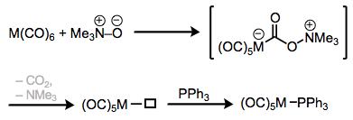 Ligand substitution with the help of trimethylamine oxide.