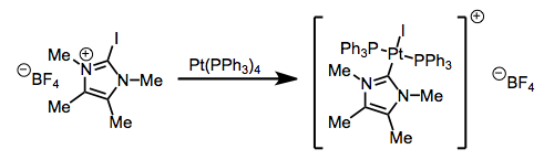 Oxidative addition by iodine-substituted imidazolium salts.