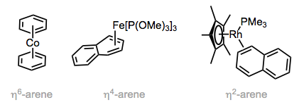 Arene ligands exhibit multiple coordination modes.