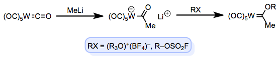 Fischer's classical route to L-type carbenes.