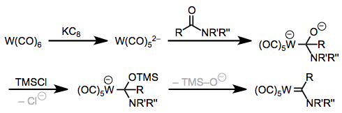 One-directional electron flow for Fischer carbene synthesis: the Hegedus-Semmelhack approach.