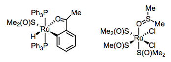 The soft Ru(II) center with hydrocarbyl ligands contains S-bound DMSO; the harder Ru(II) with chloride ligands includes one O-bound DMSO.
