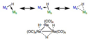 Resonance forms of bridging hydrides, with an example. We will see sigma complexes like these again!