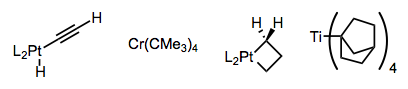 Complexes whose beta-C–H bonds cannot align in a syn coplanar manner with the M–C bond.