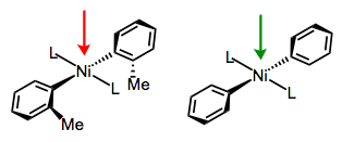The approach of solvent perpendicular to the square plane is slowed by methyl groups on the aryl ligand.