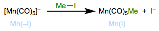 Oxidative ligation for the synthesis of alkyl complexes. Total electron count does not change.