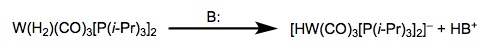 Deprotonation of dihydrogen complexes produces metal hydrides.