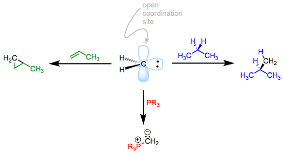 An analogy from organic chemistry. The reactivity of the carbene flows from its open coordination site.