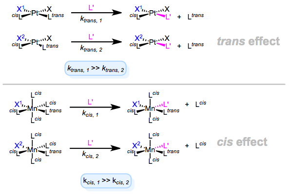 The kinetic trans and cis effects in action. X1 is the stronger (trans/cis)-effect ligand in these examples.