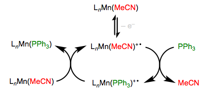 Oxidation accelerates substitution in electron-rich complexes, through a chain process.