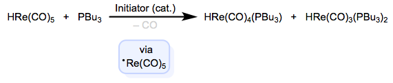 Radical-chain substitution involving atom abstraction.